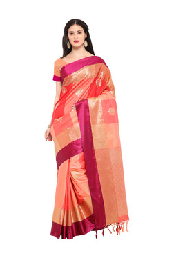 Varkala Silk Sarees Peach & Red Silk Saree With Blouse