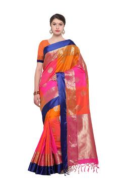 Varkala Silk Sarees Orange & Pink Silk Saree With Blouse