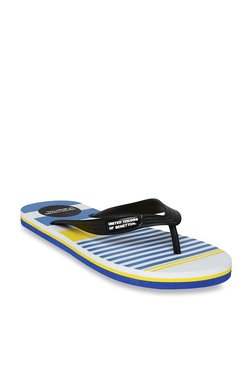 United Colors Of Benetton Black & Blue Flip Flops