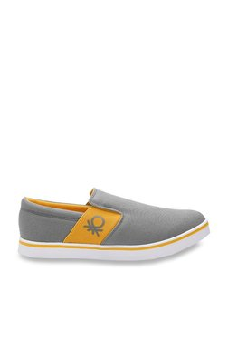 United Colors Of Benetton Grey & Yellow Casual Plimsolls