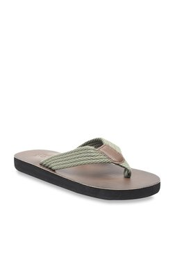 United Colors Of Benetton Olive & Brown Flip Flops