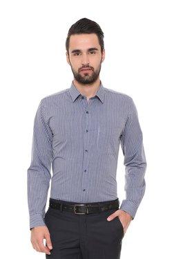 Peter England Blue Striped Full Sleeves Shirt