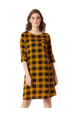 Miss Chase Mustard & Black Checks Knee Length A-Line Dress