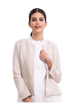 585ab07a290 FableStreet Beige Textured Linen Jacket