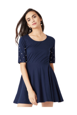 Miss Chase Navy Embellished Above Knee Skater Dress