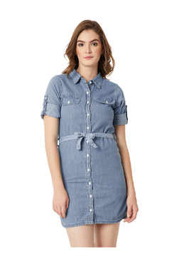 Miss Chase Blue Cotton Above Knee Shirt Dress