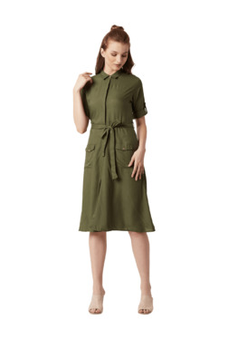 Miss Chase Olive Rayon Knee Length Shirt Dress