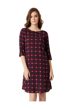 Miss Chase Navy & Red Checks Knee Length A-Line Dress