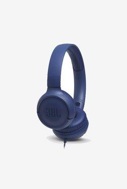 JBL T500 Powerful Bass On-Ear Headphones with Mic (Blue)