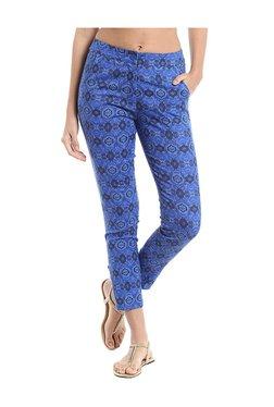 Naari Blue Cotton Printed Cigarette Pants