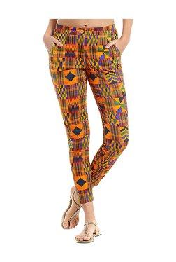 Naari Orange Cotton Geometric Print Cigarette Pants