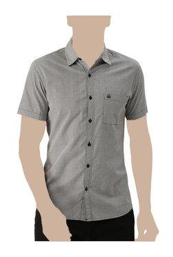 United Colors Of Benetton White & Black Regular Fit Shirt