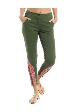 Naari Green Cotton Printed Cigarette Pants