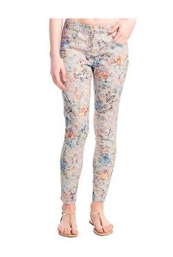 Naari Pink Cotton Geometric Print Cigarette Pants