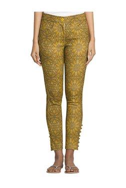 Naari Mustard Cotton Printed Cigarette Pants