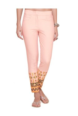 Naari Baby Pink Cotton Embroidered Cigarette Pants