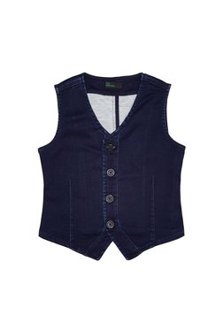 09379659b3b54 United Colors of Benetton Kids Dark Blue Solid Waistcoat