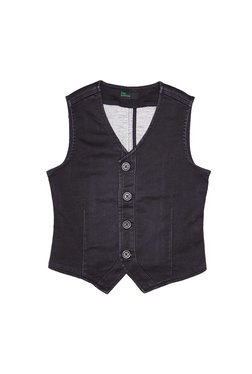 United Colors of Benetton Kids Charcoal Solid Waistcoat 3548315f9
