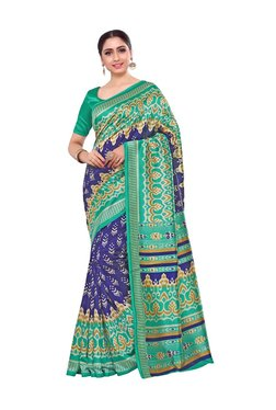 Mimosa Blue Printed Kalamkari Saree With Blouse