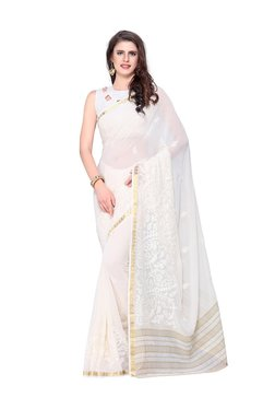 b1f187fc50ef36 Mimosa White Embroidered Kanjivaram Saree With Blouse