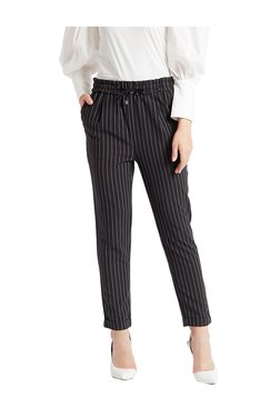 Cover Story Black Slim Fit Flat Front Trousers