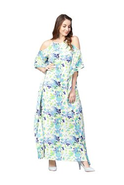 Athena Off White & Green Floral Print Maxi Dress