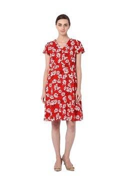 Van Heusen Red Floral Print Knee Length Dress