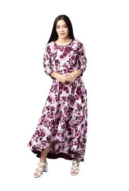 Athena Purple Floral Print Midi Dress