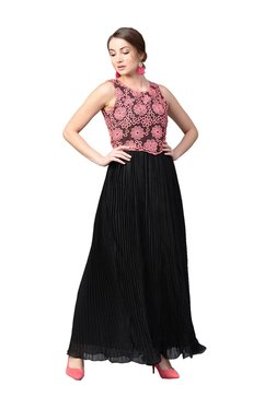 Athena Black & Coral Embroidered Maxi Dress