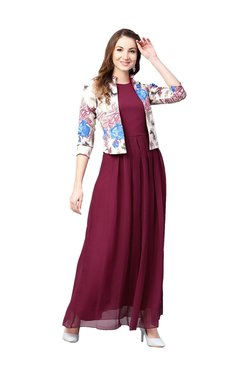Athena Burgundy Printed Maxi Dress With Jacket