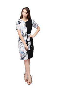 Athena White & Black Floral Print Knee Length Dress