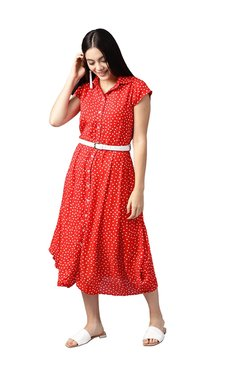 Athena Red Polka Dot Below Knee Dress