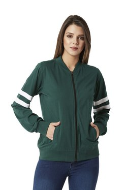 Miss Chase Green Cotton Bomber Jacket