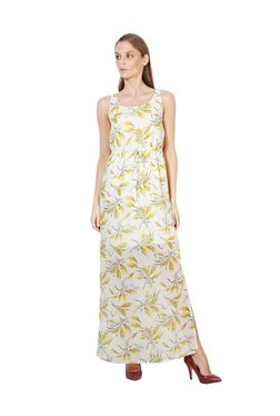 Van Heusen Yellow & White Floral Print Maxi Dress