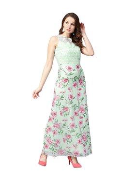 Athena Sea Green Lace Maxi Dress