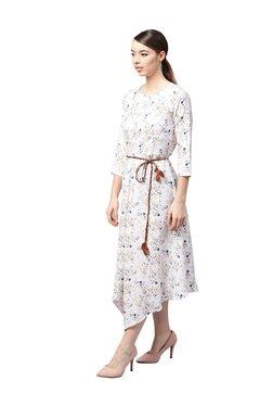 Athena Off White Floral Print Midi Dress