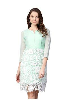 Athena Sea Green Lace Above Knee Dress