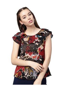 Athena Red & Black Floral Print Top