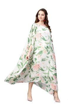 Athena White & Green Floral Print Midi Dress