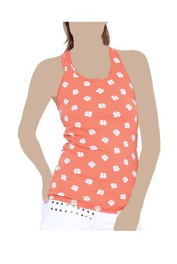 United Colors Of Benetton Orange Floral Print Tank Top