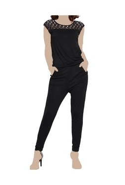 United Colors Of Benetton Black Lace Full Length Jumpsuit