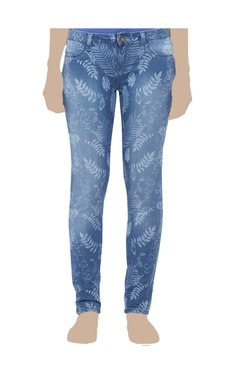 United Colors Of Benetton Blue Printed Slim Fit Jeggings