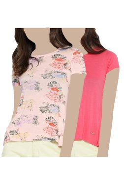 United Colors Of Benetton Pink Floral Print T-Shirt (Pack Of 2)