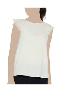 United Colors Of Benetton Off White Round Neck Top