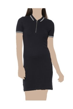 United Colors Of Benetton Navy Shirt Collar Above Knee Dress
