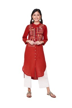 Global Desi Red Embroidered Cotton Kurta