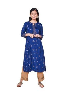 365642f65dd75 Global Desi Blue Printed Kurta