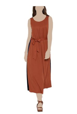 United Colors Of Benetton Rust Round Neck Maxi Dress