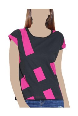 United Colors Of Benetton Pink & Black Printed Top
