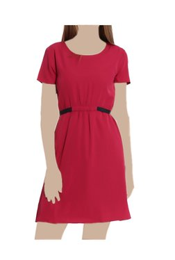 United Colors Of Benetton Red Round Neck Above Knee Dress